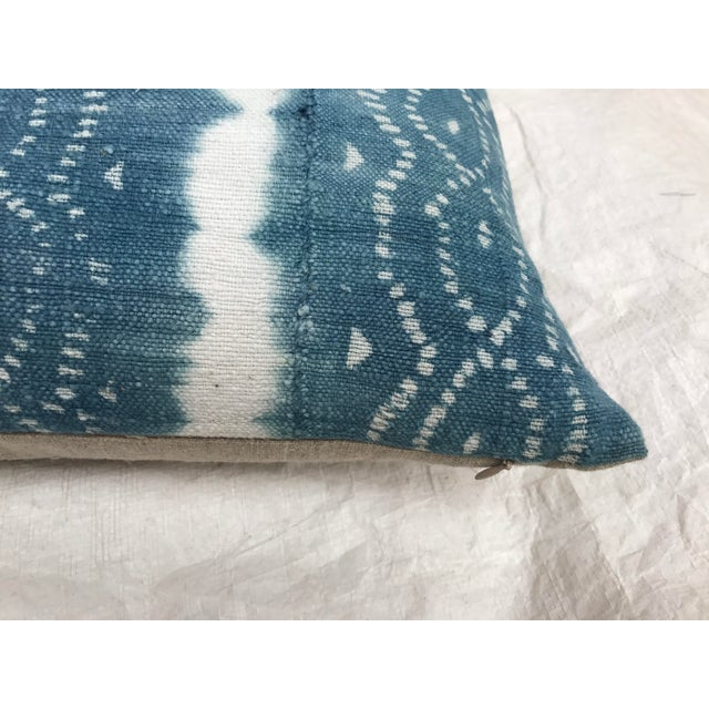 African Indigo Faded Tye-Dye Fringe Pillows - A Pair - Image 8 of 10