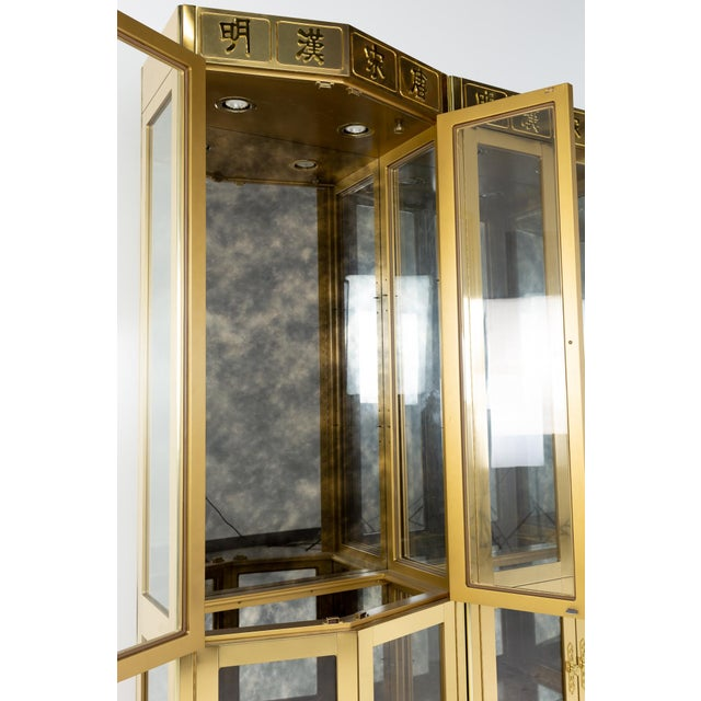 Brass Mastercraft Mid Century Brass Display Cabinet - Set of 3 For Sale - Image 8 of 13