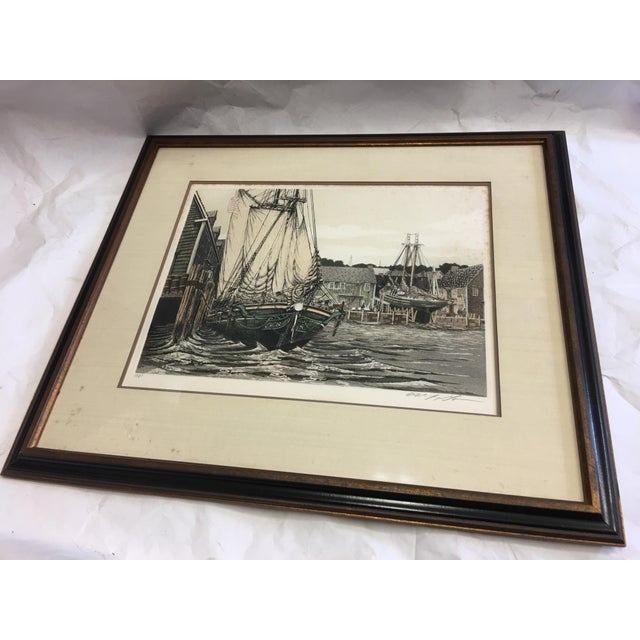 """A beautiful hand colored aquatint titled """"The Lookout """" and signed by Alan Jay Gaines a marine artist. A great scene...."""