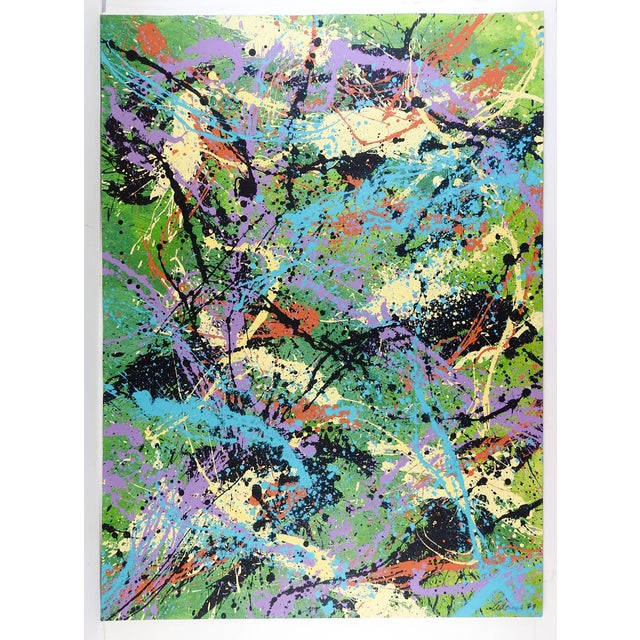Colorful Abstract Expressionist acrylic painting on heavy paper. Signed Adams 1999 lower right . Unframed.