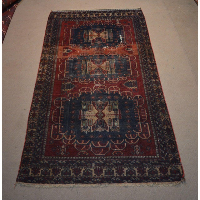 1930s Antique Bohemian Style Handmade Rug - 3′11″ × 7′5″ For Sale - Image 5 of 5