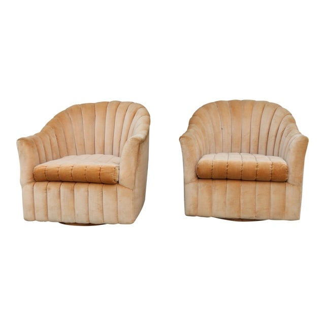 Velvet Swivel Chairs - A Pair For Sale