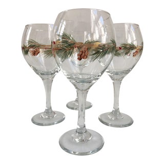 Vintage Holiday Hand Decorated Wine Glasses Stemware - Set of 4 For Sale