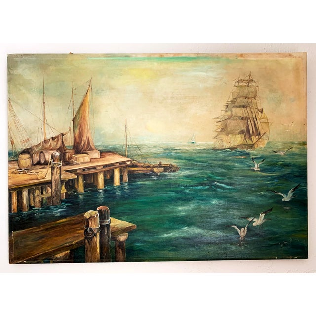 Vintage painting of a three mast sailing ship in distant ocean. A pier with another sailboat preparing to sail is seen in...