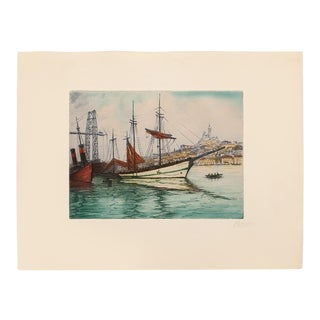 """C. 1900s Marcel J. Baron """"Venice, Grand Canal"""", Original Hand Colored Impressionist Etching, Signed For Sale"""