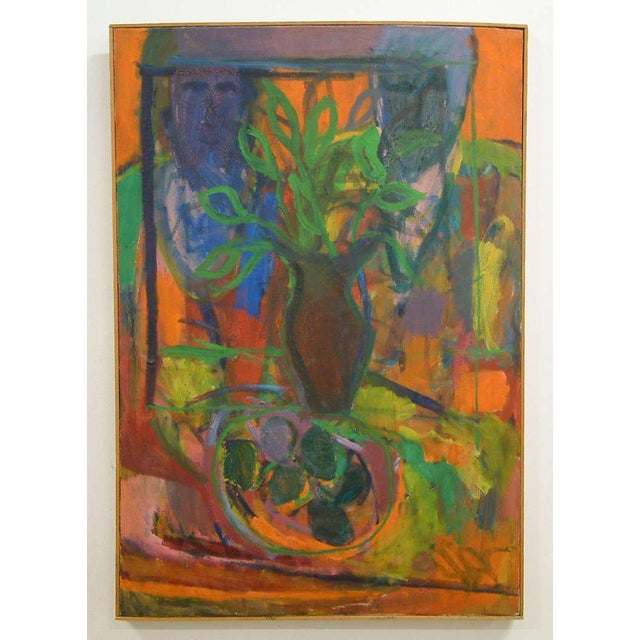"1960, David Alexick, ""Still Life"", Abstract, Orange, Blue, Lavender, Green, Yellow, Black, Oil on Canvas For Sale - Image 4 of 7"
