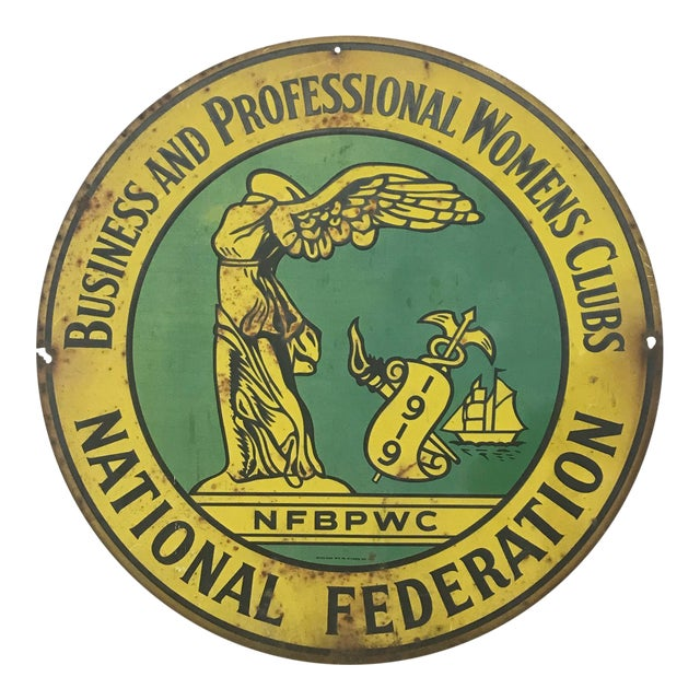 1920s Art Deco National Federation of Business and Professional Women Club Metal Sign For Sale