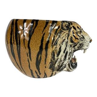 Hand Painted Italian Mid Century Ceramic Tiger Planter For Sale