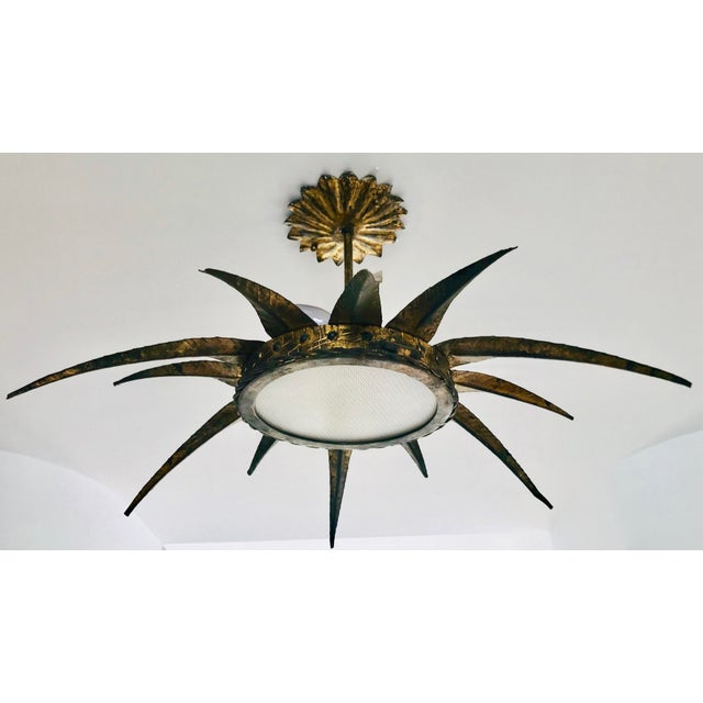 1950s French Sunburst Ceiling Mount Fixture For Sale - Image 4 of 9