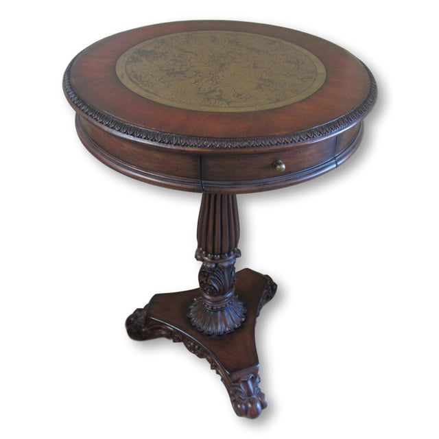 Pedestal End Table With Brass Map Inlay - Image 2 of 9