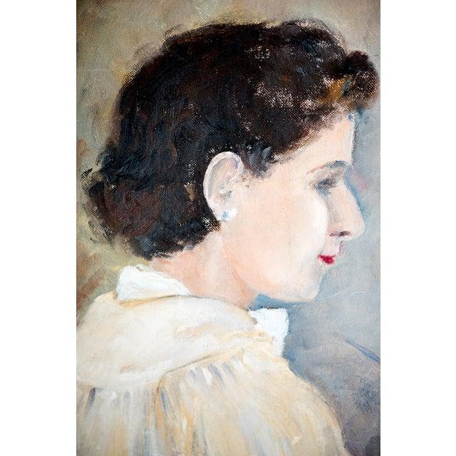 1940s Woman Oil Painter Portrait on Canvas - Image 3 of 6