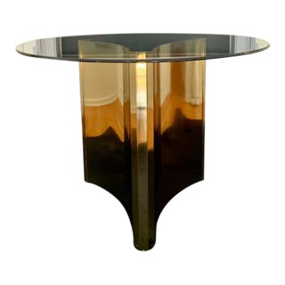 1970s Hollywood Regency MasterCraft Trilobi Brass Dining Table For Sale