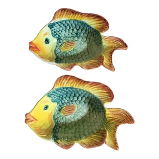 Portuguese Majolica Style Fish Bowls - a Pair For Sale
