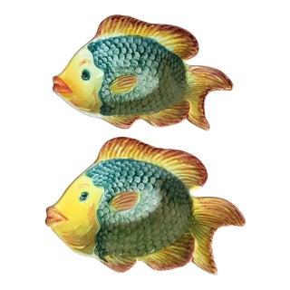 Portuguese Majolica Style Fish Bowls - a Pair