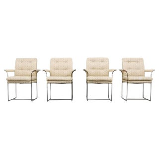 Set of 4 Milo Baughman for Thayer Coggin Chrome Highback Arm Chairs -- 1970s Usa For Sale