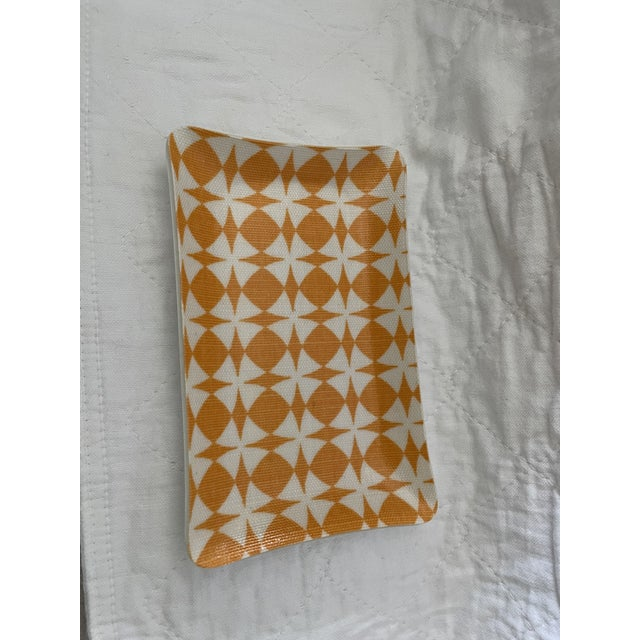 Fun orange and white decorative dish to brighten up any room. Cool geometric pattern. Never been used, only photographed...