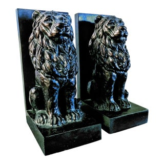 Vintage Bronze Toned Resin Stately Lions Poised en Guard as Bookends - a Pair For Sale