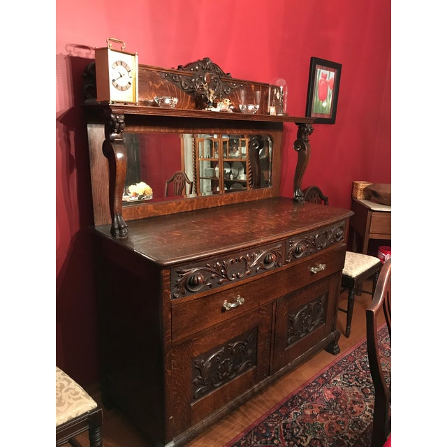 Antique Tiger Oak Buffet With Mirror - Image 3 of 11