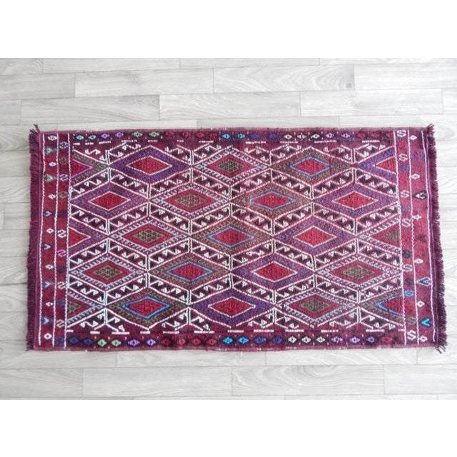 Red Vintage Mid Century Geometric Rug- 1′8″ × 2′12″ For Sale - Image 8 of 8