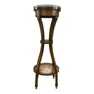 Theodore Alexander Tooled Leather and Mahogany Stand For Sale