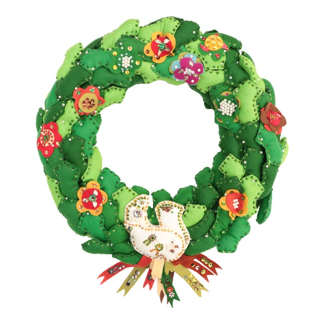 1970s Americana Felt Christmas Wreath For Sale