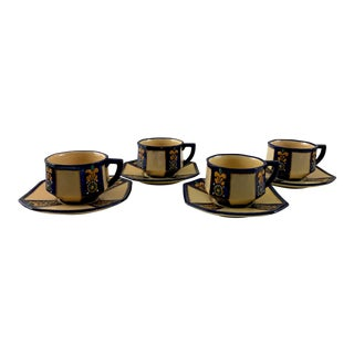 1940's Hb Quimper Cups and Saucers - Set of 4 For Sale