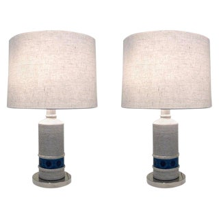 Pair of Italian Ceramic and Nickel Table Lamps by Bitossi For Sale