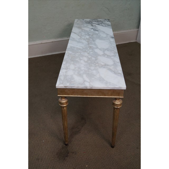 Vintage Silver Gilt Marble Top Console Table - Image 4 of 10