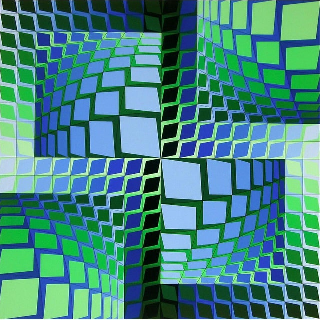 """1982 """"Thez"""" Limited Edition Silkscreen After Victor Vasarely For Sale"""