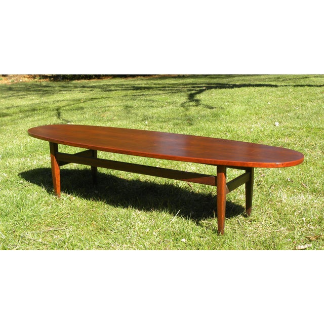 Vintage Mid-Century Solid Wood Surfboard Coffee Table