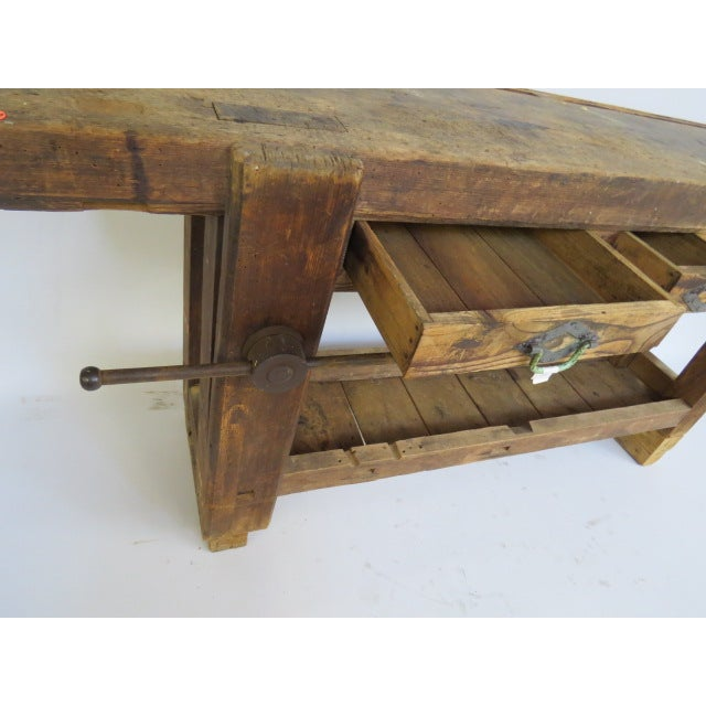 Antique 1900s Industrial Work Table - Image 5 of 6