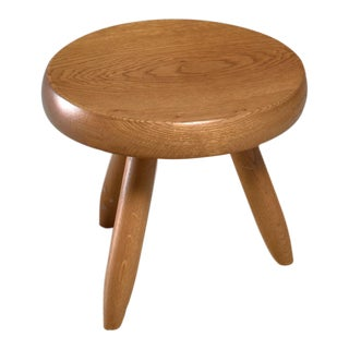 Charlotte Perriand low oak stool, France, 1960s For Sale