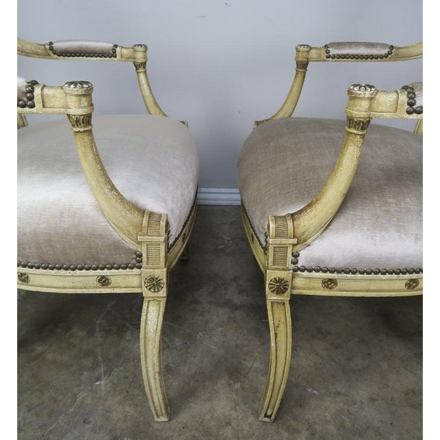 Pair of 1930s Italian Neoclassical Painted Armchairs W/ Urns For Sale - Image 11 of 12