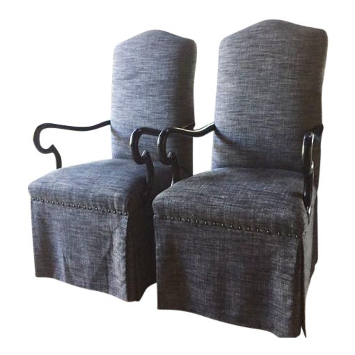 Gray Upholstered Dining Chairs - A Pair - Image 1 of 5