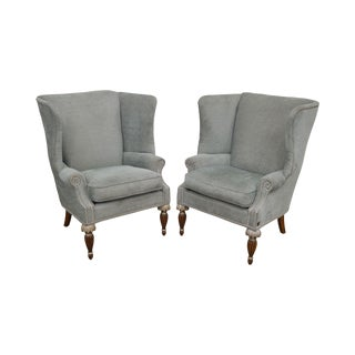 Raymond Waites for Lane Regency Style Custom Upholstered Pair Wing Chairs For Sale