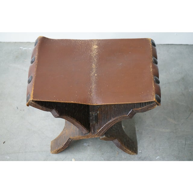Mid-Century Modern Vintage Carved Wood and Leather Ottoman For Sale - Image 3 of 6