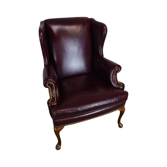 Sherrill Oxblood Red Leather Queen Anne Wing Chair