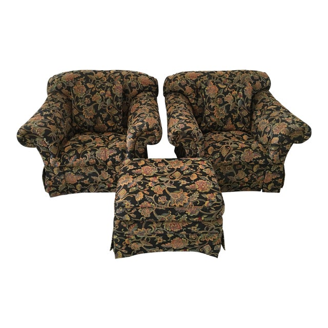 Drexel Heritage Oversized Tufted Chairs & Ottoman For Sale
