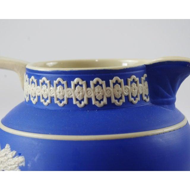 1900s Antique Spode Hunting Scene in Royal Blue Jasperware Pitcher For Sale - Image 9 of 12