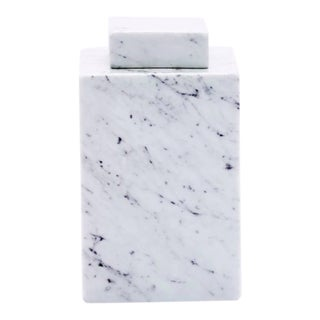 Large Square Marbleized Porcelain Jar