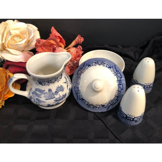 Churchill Blue Willow - Blue and White Cream and Sugar Salt and Pepper Set - 4 Pieces For Sale In Phoenix - Image 6 of 7