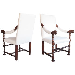 Robust Pair of Flemish Baroque Style Walnut Fauteuils a la Reine For Sale