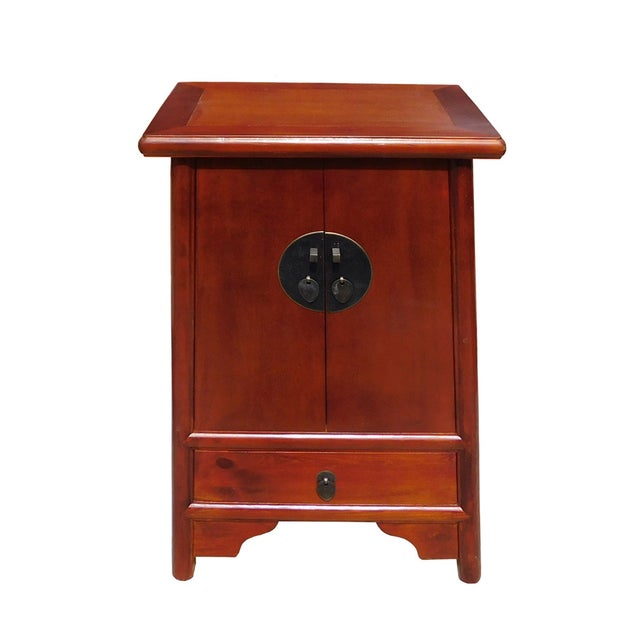 Brown Chinese A Shape End Table/Nightstand - Image 2 of 5