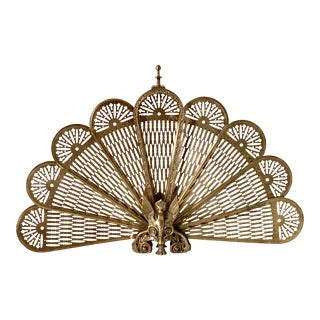 Brass Griffin Peacock Fan Fireplace Screen For Sale
