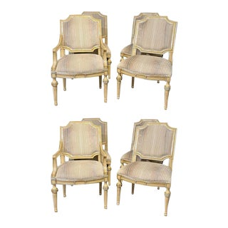 Set of Eight Louis XVI Style Dining Chairs Painted and Parcel-Gilt, Jansen Style For Sale