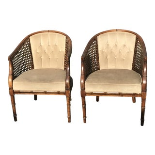 Mid-Century Modern Faux Bamboo Club Chairs - a Pair For Sale