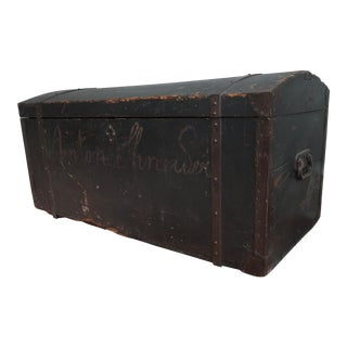 Dometop Steamer Trunk Chest With Metal Strapping and Iron Handles For Sale