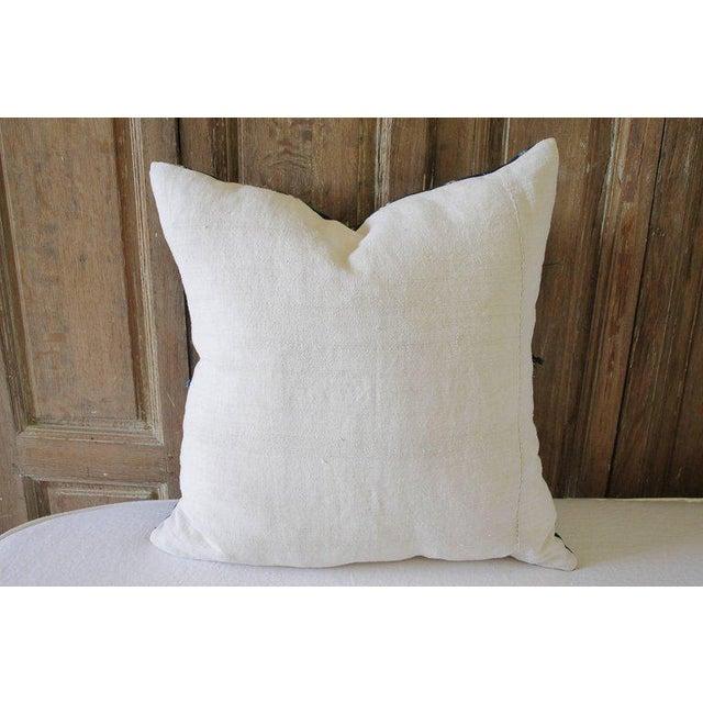 Fabric Antique Indigo Blue Batik Fringe Accent Pillow For Sale - Image 7 of 8