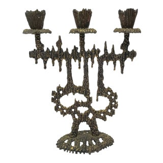 Mid 20th Century Wainberg Brass Brutalist Israeli Candelabra For Sale