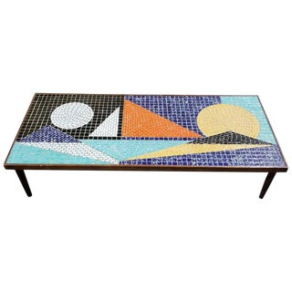 Mosaic Ceramic Tile Coffee Table For Sale